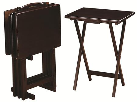 901081 Tray Tables 5 Piece Tray Table Set (Set of 4 Tray Tables and 1 Stand) Constructed from Wood Veneers & Solids in Cappuccino