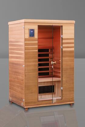 Renew II HM-BSE-2-BT-CL Infrared Sauna with Flat Bench  Trulnfra Heater  Tecoloy M Heater  Floor Heater and Sound System in Cedar