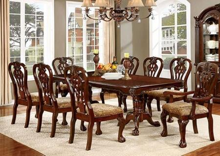 Elana Collection CM3212T6SC2AC 9-Piece Dining Room Set with Rectangular Table  6 Side Chairs and 2 Arm Chairs in Brown Cherry