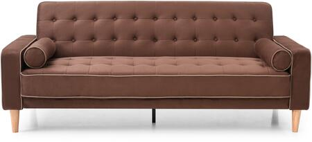 Navi Collection G842A-S 82 inch  Sleeper Sofa with 2 Bolster Pillows  Tapered Wood Legs  Track Arms  Button Tufted Cushions  Heavy Duty Springs and Micro Suede