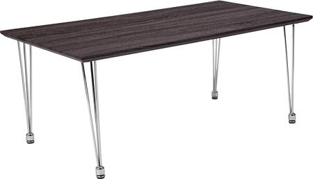 HG-160306-GG Georgetown Collection Charcoal Wood Grain Finish Coffee Table with Chrome
