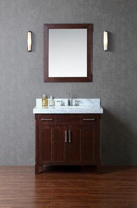 SCRED36TWA Redford 36 Single-Sink Bathroom Vanity Set with Marble Top and Simple Pulls in