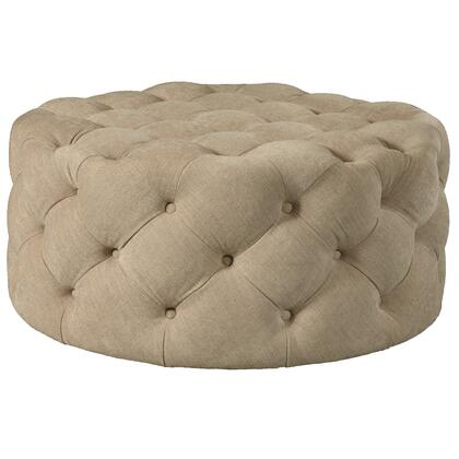 DSD108003537 Round Button Tufted Cocktail Ottoman With Casters In Dudley Burlap