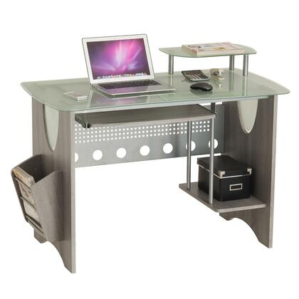 RTA-3325-GRY Stylish Frosted Glass Top Computer Desk with Storage. Color: