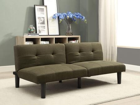 "Astra Collection 57015 65"" Adjustable Sofa with Eucalyptus Wood Frame  Backrest Half Folding  Foam Encased Cushion and Linen Upholstery in Dark Olive"