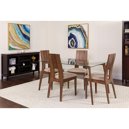 ES-130-GG Rialto 5 Piece Walnut Wood Dining Table Set With Glass Top And Curved Slat Keyhole Back Wood Dining Chairs - Padded Seats 39