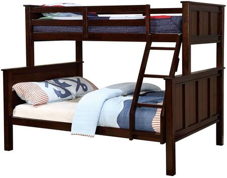 Gracie Collection CM-BK930TF-BED Twin Over Full Size Bunk Bed with Angled Ladder  Slat Kit Included  Solid Wood and Wood Veneer Construction in Dark Walnut
