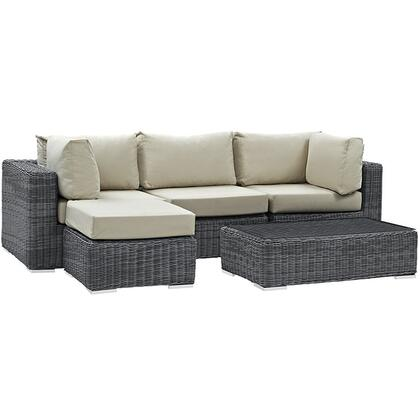 Summon Collection EEI-1904-GRY-BEI-SET 5-Piece Outdoor Patio Sunbrella Sectional Set with Armless Chair  Coffee Table  Ottoman and 2 Corner Sections in Canvas