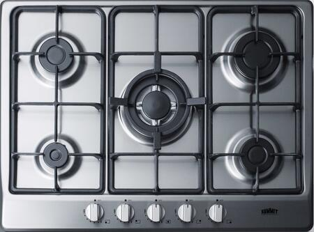 "GC527SS 27"" Gas Cooktop with 5 Sealed Burners  Wok Ring  Continuous Cast Iron Grates  in Stainless"