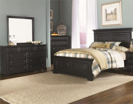 Carrington II Collection 917-BR-KPBDMC 4-Piece Bedroom Set with King Panel Bed  Dresser  Mirror and Chest in Black