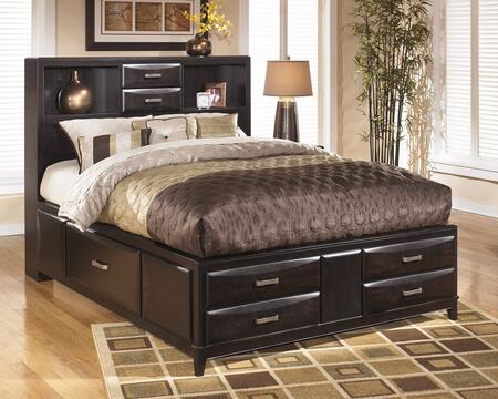 Kira B473-64/65/98 Queen Size Storage Bed with 2 Open Headboard Compartments  4 Footboard Drawers and 2 Side Drawers in an Almost Black