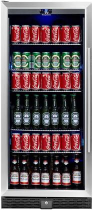 KingsBottle KBU100BSS Beverage & Beer Glass Door Cooler- 198.4 Pounds Fridge for 300 Cans or bottles with 5 Chromed Steel Shelves Ideal Refrigerator for Bars, Restaurants, Game Room with Noise Free Compressor KBU-100B-SS (LHH)