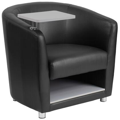 Click here for BT-8220-BK-GG 30 Guest Chair with Barrel Back Design  Raised Tablet Arm Swings 360 Degrees  Plush Foam Seat  Chrome Feet and LeatherSoft Upholstery in Black prices