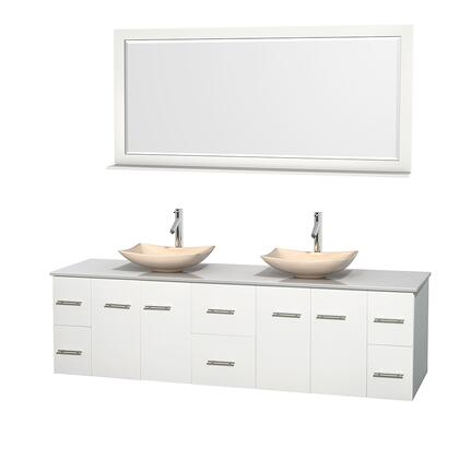 WCVW00980DWHWSGS5M70 80 in. Double Bathroom Vanity in White  White Man-Made Stone Countertop  Arista Ivory Marble Sinks  and 70 in.