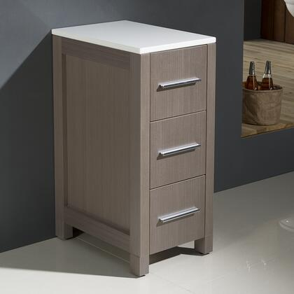 Torino Collection Fst6212go 12 Bathroom Linen Side Cabinet With Plywood & Veneers Construction  3 Drawers And Ceramic Countertop In Gray