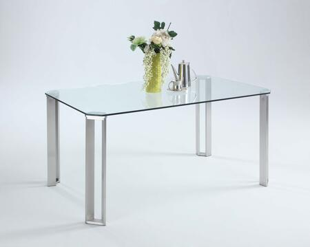 RHONDA-DT RHONDA DINING Cut-Corner Clear-Tempered Glass Dining Table Top with Framed-Rectangle