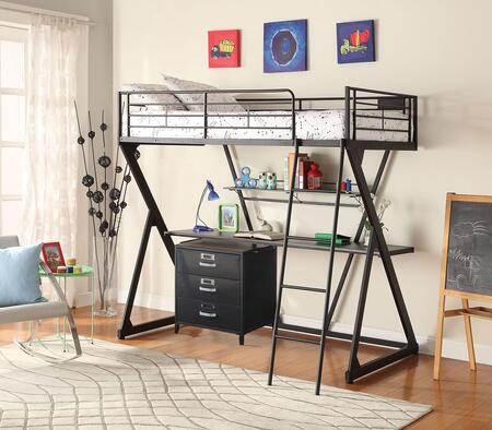 Zazie 371382PC Bedroom Set with Twin Size Loft Bed + 3 Drawer Cabinet in Sandy Black