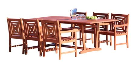 V232SET39 Malibu Outdoor 7-Piece Wood Patio Dining Set With Extension