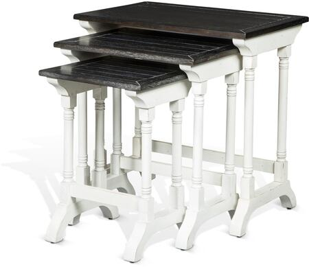 Carriage House Collection 2024EC 3-Piece Nesting Table Set with Planked Tops  Subtle Distressing Details and Wood Construction in European