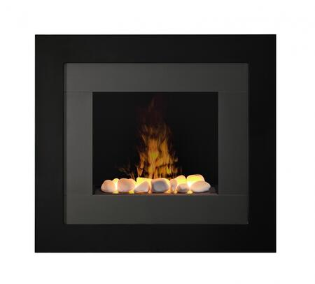 RDY20R Redway Wall Mount Electric Fireplace  with White Rock Faux Flame Bed  Cool Glass Front  Remote Control  and Contempotary Style  in
