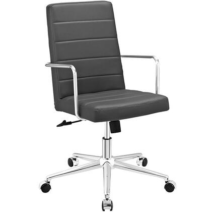 Cavalier Collection EEI-2124-GRY Office Chair with Swivel Seat  Adjustable Height  Dual-Wheel Nylon Casters  Brushed Stainless Steel Armrests  Polished Chrome