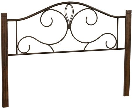 Destin Collection 2220HFQC Full/Queen Size Headboard with Open-Frame Panel Design  Decorative Metal Scrollwork and Solid Wood Posts in Brushed