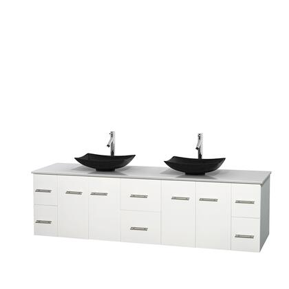 WCVW00980DWHWSGS4MXX 80 in. Double Bathroom Vanity in White  White Man-Made Stone Countertop  Arista Black Granite Sinks  and No