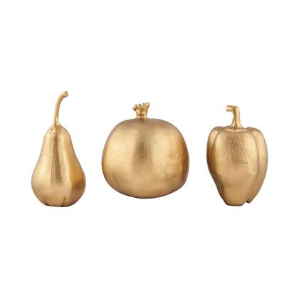 Festival Colelction 8903-052/S3 Set of 3 7 inch  Sculpture Set with Aluminum Material  Tomato  Pear and Green Pepper Design in Gold Plate