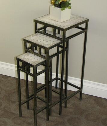 605823 3 piece slate square plant stands  Rustic Bronze/ Travertine