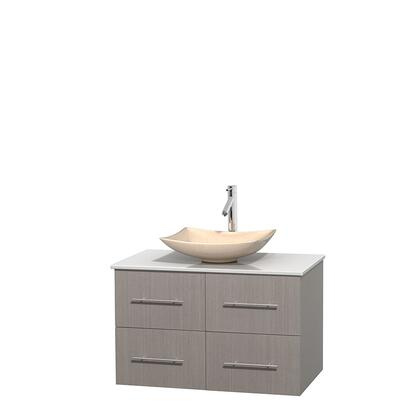 Wcvw00936sgowsgs5mxx 36 In. Single Bathroom Vanity In Gray Oak  White Man-made Stone Countertop  Arista Ivory Marble Sink  And No