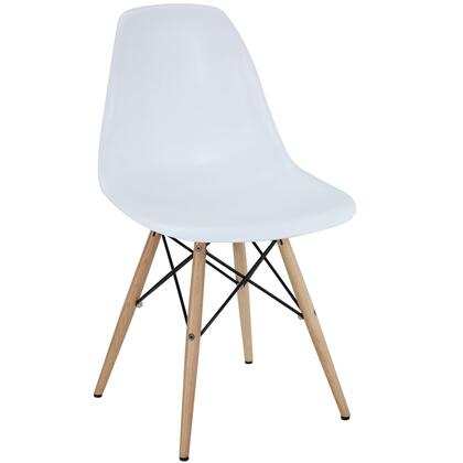 Pyramid Collection EEI-180-WHI Dining Side Chair with Non-Marking Feet  Solid Beech Wood Tapered Legs  Acrylonitrile Butadiene Styrene (ABS) Plastic Seat and