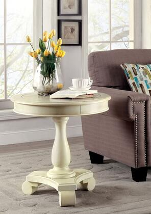 Kalea CM-AC135WH Round Accent Table with Transitional Style  Plank Style Top  Pedestal Design  Solid Wood  Others in Antique