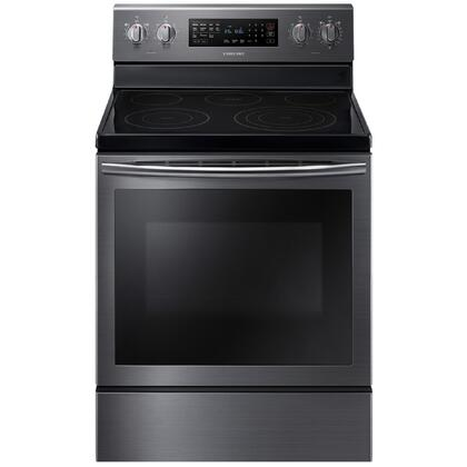 "NE59J7630SG 30"" 5.9 cu. ft. Freestanding Electric Range with  5 Smooth Top Electric Elements  Storage Drawer  True Convection Oven  Steamquick and Hot Surface"
