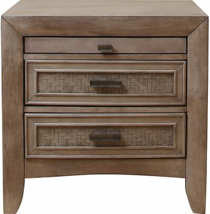 Ireton Collection 26033 26 inch  Nightstand with 2 Drawers  1 Pull-Out Tray  Matte Dark Brown Hardware  Rubberwood and Okume Veneer Materials in Caramel