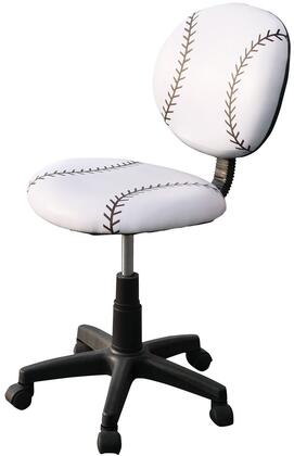 All Star Collection 59082 32 inch  - 37 inch  Youth Office Baseball Chair with Pneumatic Lift  Adjustable Height  Swivel Seat  Black Caster Base and Bycast PU Leather