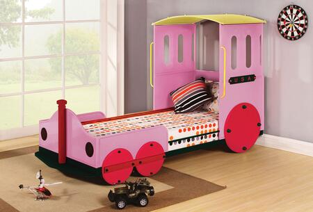 Tobi Collection 37200AT Twin Size Bed with Train Design  Slat System Included  Padded Headboard and Powder Coating Metal Tube Construction in Pink