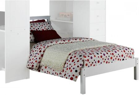 Freya Collection 37152 Twin Size Bed with Low Profile Footboard  Mission Headboard  Slat System Included and Solid Wood Construction in White
