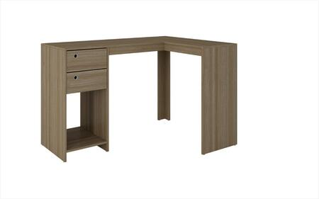 Palermo Collection 41AMC23 50 inch  Classic L-Desk with 2 Drawers  Ring Holes and 1 Open Shelf in