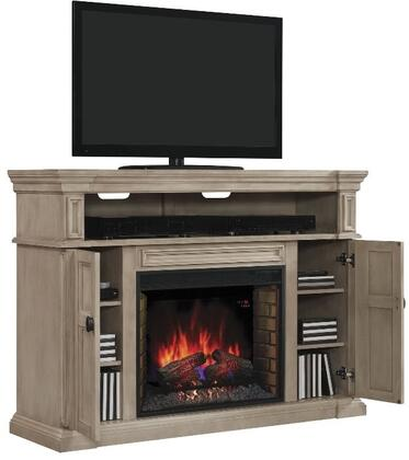 28MM4684-T477 Wyatt Infrared Electric Fireplace Media Console with Tiered Molding Mantel Top  Adjustable Wood Shelves and Side Storage Cabinets in Soft White