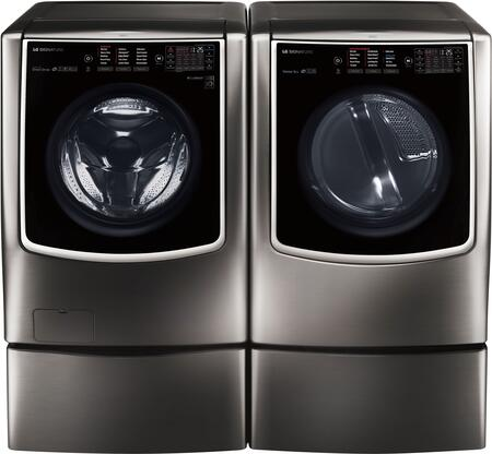 Black Stainless Steel Washer and Dryer Package with WM9500HKA Washer  DLGX9501K Gas Dryer and 2 WDP5K