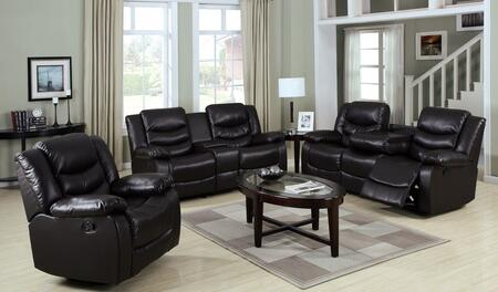 Torrance 50575SLR 3 PC Living Room Set with Sofa + Loveseat + Recliner in Espresso