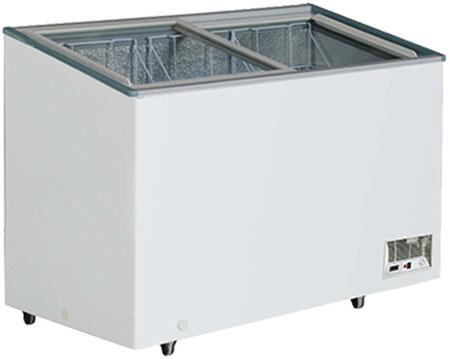 MXH10.6F Display Freezer with 9.7 cu. ft.  Recessed Sliding Door Handle  Aluminum Interior  White Exterior   Light  Temperature Display  Front Facing Drainage