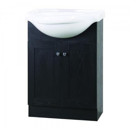 YVEC-472BK 24 inch  Single Vanity with Ceramic Top  Centerset Faucet Hole  ceramic Basin and 2 Door-Cabinet in Black Cabinet