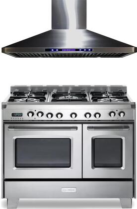 2-Piece Stainless Steel Kitchen Package with VCLFSGE365DSS 36 inch  Freestanding Dual Fuel Range and VEHOOD36CH 36 inch  Wall Mount Ducted