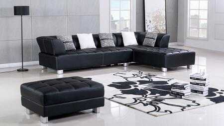 AE-L138 Collection AE-L138L-BK 3-Piece Sectional Sofa with Left Arm Facing Sofa  Right Arm Facing Chaise and Ottoman in