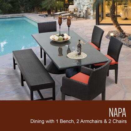 NAPA-RECTANGLE-KIT-2ADC2DC1DBC-TANGERINE Napa Rectangular Outdoor Patio Dining Table With 4 Chairs and 1 Bench with 2 Covers: Wheat and