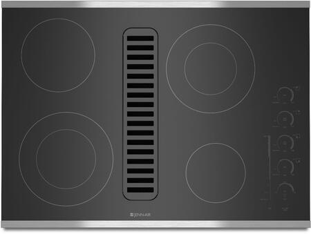 JED4430WS 30 inch  Electric Radiant Downdraft Cooktop with Electronic Touch Control  3 Fan Speeds  4 Elements  and Ceran Glass Ceramic Surface  in Stainless