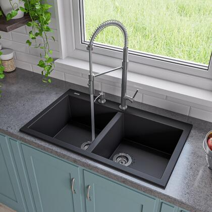 Ab3420di-bla 34 Double Bowl Kitchen Sink With Granite Composite  Drop-in Installation Hardware And One Pre-drilled Faucet Hole In
