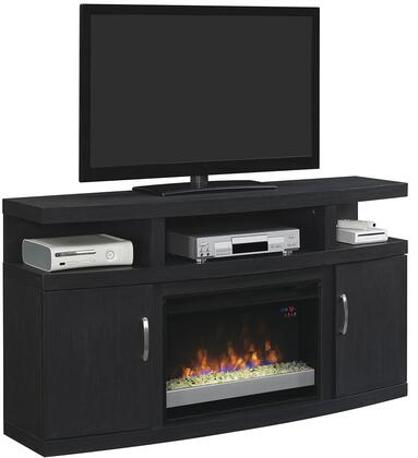 26MM5508-NB04 Cantilever Electric Fireplace Media Cabinet with Adjustable Wood Shelves  Side Storage Cabinets and Open Center Shelves in Engineered Embossing