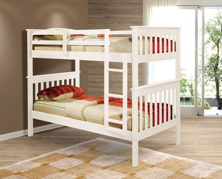 120-3W Twin Over Twin Mission Bunk Bed with Built in Ladder  Slat Headboard and Footboard in